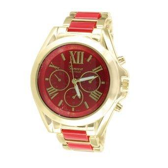Rot Zifferblatt Armbanduhr Gold Ton Roemische Zahl Zifferblatt Geneva Platin Edelstahl Rueckseite