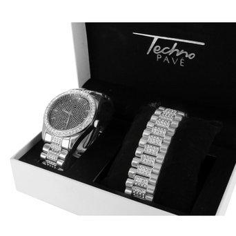 Herren Schwarz Zifferblatt Armbanduhr Simuliert Lab Diamanten Weiss Gold Tone gratis Armband Set