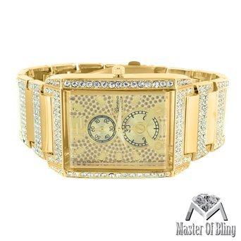Herren Rechteck Zifferblatt Armbanduhr 14 K versilbert 2 Zeitzone Simuliert Lab Diamanten New
