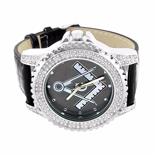 Mason Uhr muss grau Zifferblatt 14 K Weiss Gold Finish fuer Herren simulierten Diamanten Leder Band