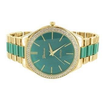Gruen Zifferblatt weiblich Armbanduhr Gold Finish Parker 2 Ton Geneva Platinum MK Design