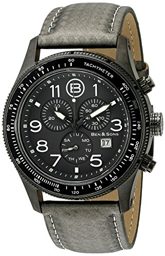 Ben Sons The Colonel Herren 44mm Chronograph Mineral Glas Uhr 10062 GM 014