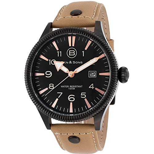 Ben Sons Ranger Herren Armbanduhr 45mm Armband Leder Gehaeuse Vergoldetes Edelstahl Quarz 10019 BB 01 BGS
