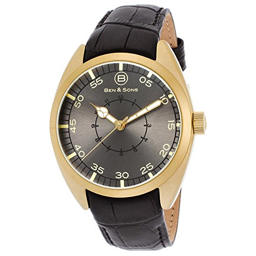 Ben Sons Voyager Herren Armbanduhr 46mm Armband Leder Schwarz Gehaeuse Edelstahl Quarz 10014 AN 014