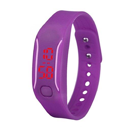 uhr sport armband Kolylong Unisex Gummi LED Datum Digital Sport Armband Kolylong Lila
