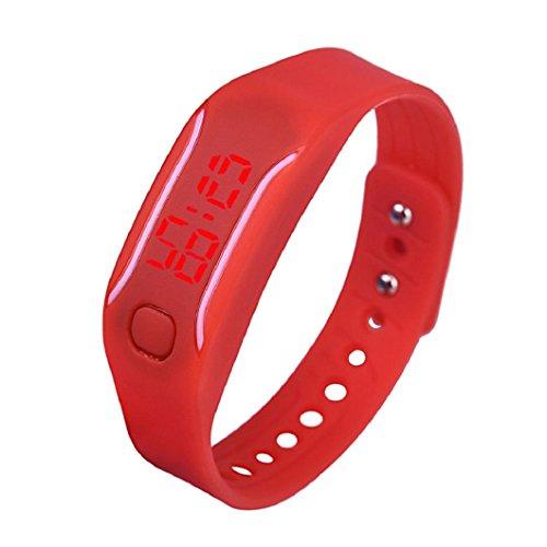 uhr sport armband Kolylong Unisex Gummi LED Datum Digital Sport Armband Kolylong Rote