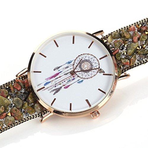 Uhr Damen Kolylong Frau Besondere Traumfaenger Muster Kasten Verpackung Armband Cobblestone Entwurf Synthetik Kette Uhr D