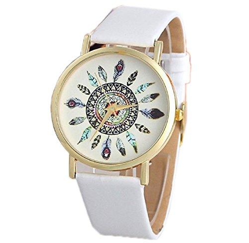 uhr damen Kolylong Damen PU Leder Feather Zifferblatt Armbanduhren White