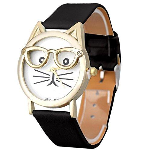 Uhr Damen Kolylong Frau Schoen Cat MusterDruck Quarz Armbanduhr Schwarz