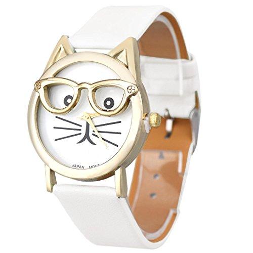 Uhr Damen Kolylong Frau Schoen Cat MusterDruck Quarz Armbanduhr Weiss