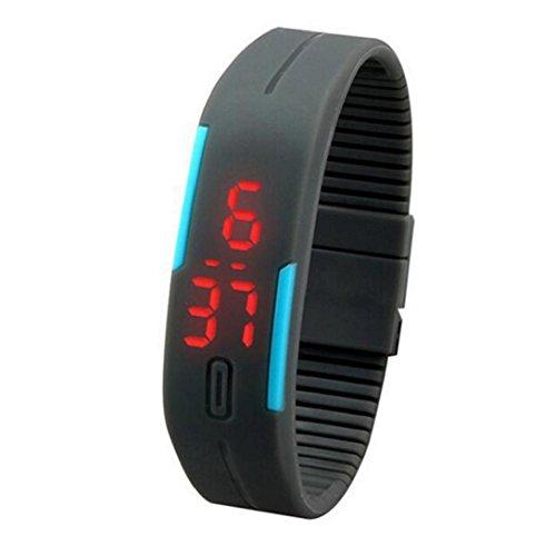 Uhr Sport Herren Kolylong Mann Sport Silikon Digital LED Armbanduhr D