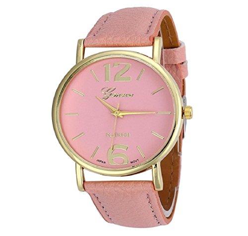 uhr Kolylong Damen Herren unisex Leder Armbanduhr pink