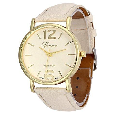 uhr Kolylong Damen Herren unisex Leder Armbanduhr beige