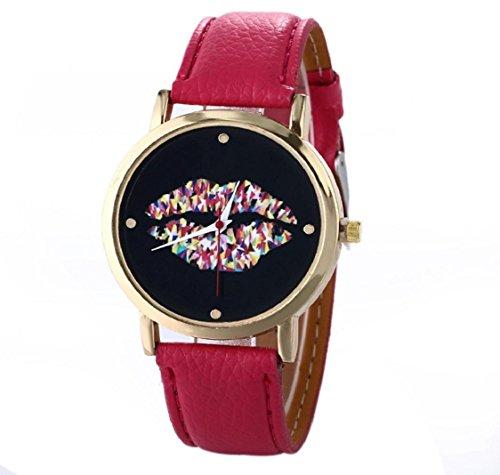 uhr Kolylong Damen Leder Vogue Armbanduhr hot pink