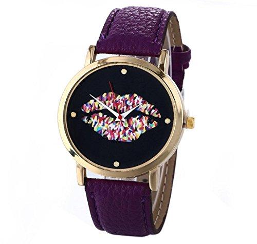 uhr Kolylong Damen Leder Vogue Armbanduhr lila