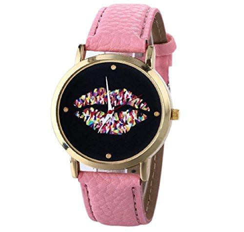 uhr Kolylong Damen Leder Vogue Armbanduhr pink