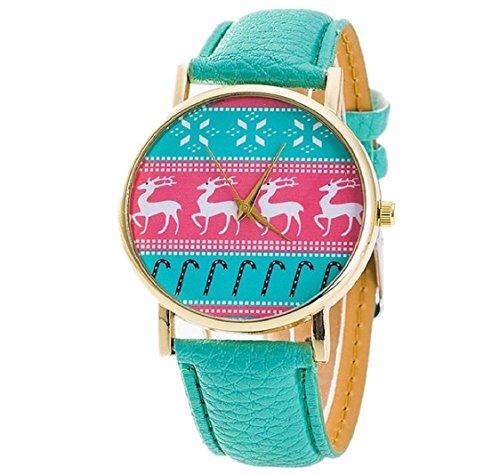 uhr Kolylong Damen niedlich PU Leder Armbanduhr green