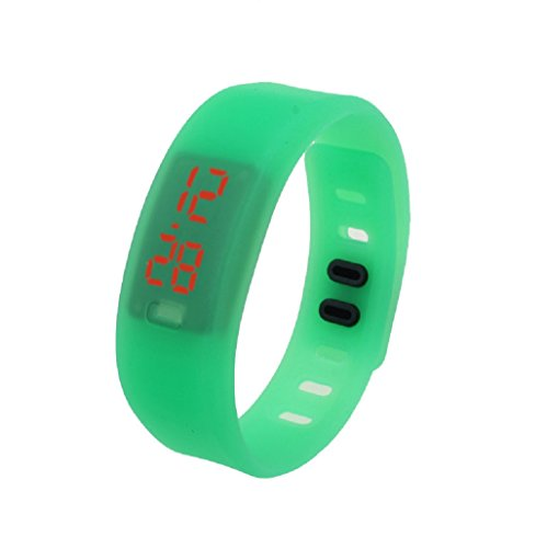 Kolylong Damen Rubber LED Uhr Datum Sports Armband Gruen