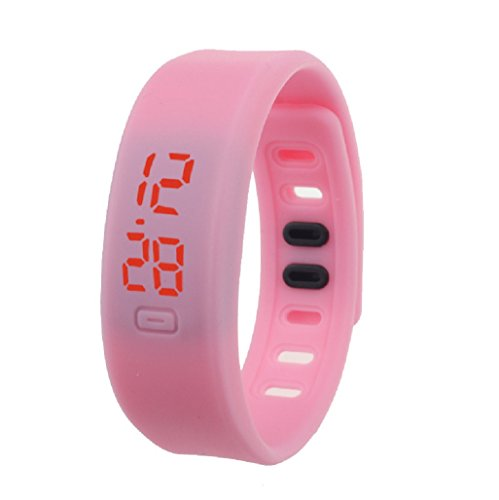 Kolylong Damen Rubber LED Uhr Datum Sports Armband Rosa