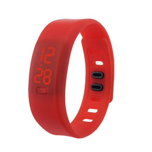 Kolylong Damen Rubber LED Uhr Datum Sports Armband Rot