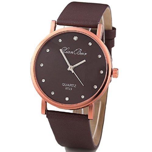 Kolylong Fashion Style Frauen Diamant Kasten Leatheroid Band runden Zifferblatt Armbanduhr Kaffee