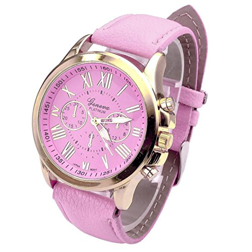 Uhr Damen Kolylong Frauen 9298 Modell Roemische Zahlen Kunstleder Band Armbanduhr Rosa