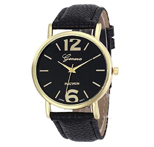uhr Kolylong Damen Herren unisex Leder Armbanduhr schwarz