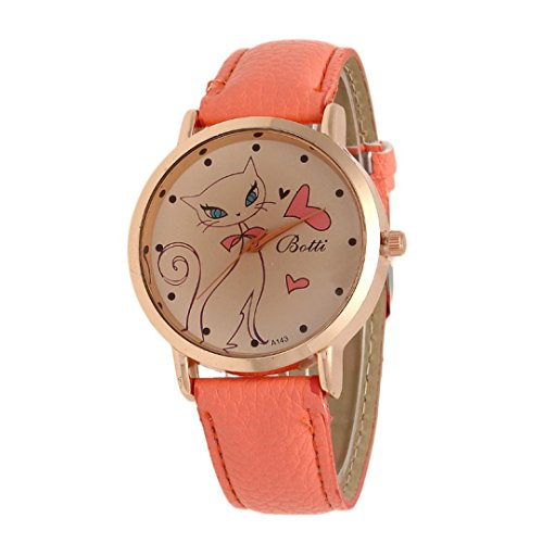 Uhr Damen Kolylong Frau Nette Katzen Muster Analog Quarz Retro Uhren Orange