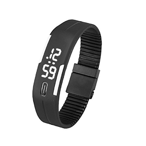Kolylong Mens Womens Rubber LED Armbanduhr seit Sport Armband Digitale Schwarz Weiss
