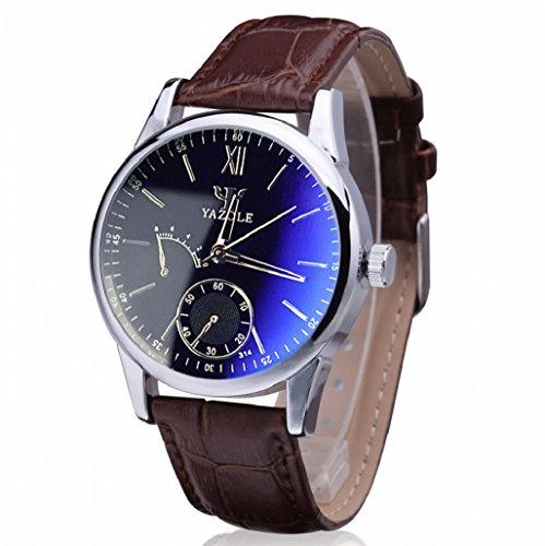 Kolylong Luxus Mode Maenner Blue Ray Glas Quartz Analog Uhren Braun