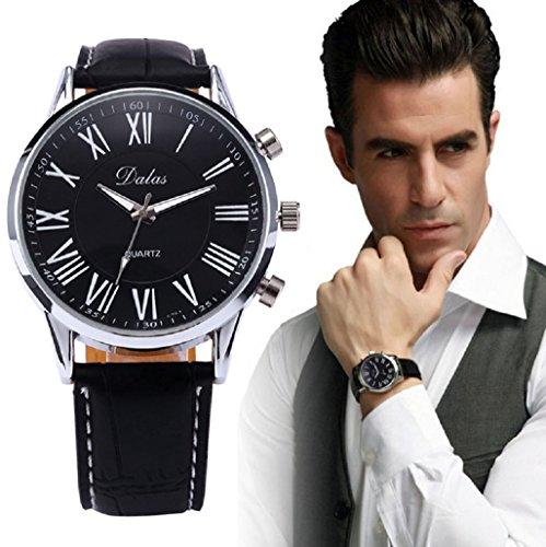 Kolylong Neue Luxus Herren Leder analoge Quarz Armbanduhr