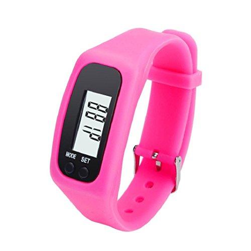 Armband Herren Damen Kolylong Unisex LCD Pedometer Schrittzaehler Entfernung Kalorienberechnung Armband Hot Pink