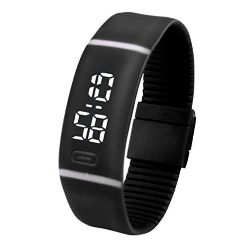 Kolylong Unisex Gummi LED Uhr Datum Sport Armband Digital Armbanduhr Schwarz
