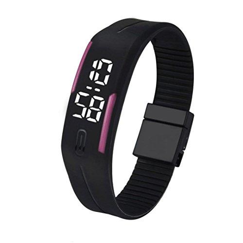 Kolylong Unisex Gummi LED Uhr Datum Sport Armband Digital Armbanduhr D