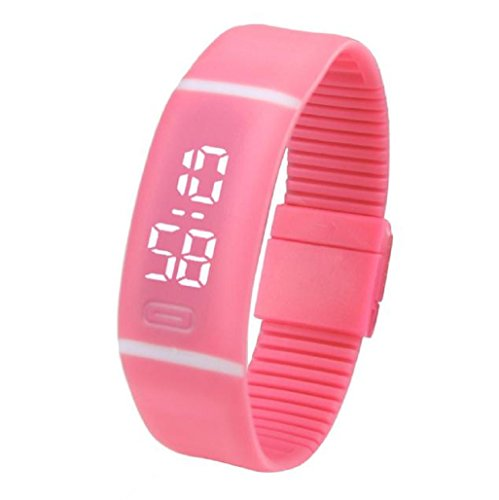Kolylong Unisex Gummi LED Uhr Datum Sport Armband Rot