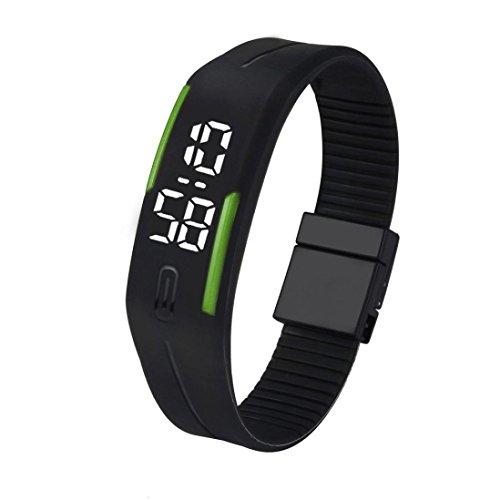 Kolylong Unisex Gummi LED Uhr Datum Sport Armband B