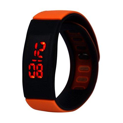 Kolylong Unisex Gummi LED Uhr Sport Armbanduhr Orange