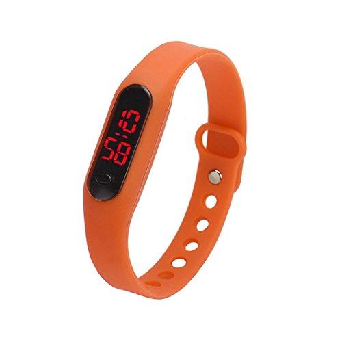Kolylong 1PC Unisex Gummi LED Uhr Sport Armbanduhr Orange