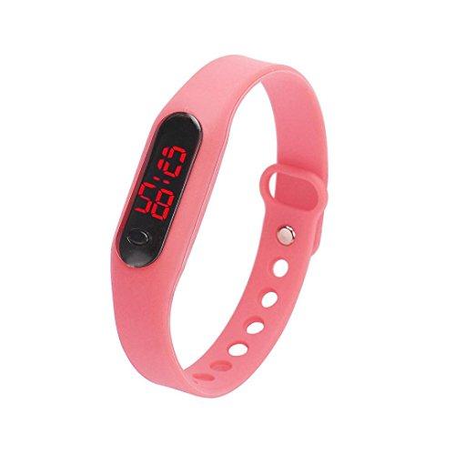 Kolylong 1PC Unisex Gummi LED Uhr Sport Armbanduhr Rosa
