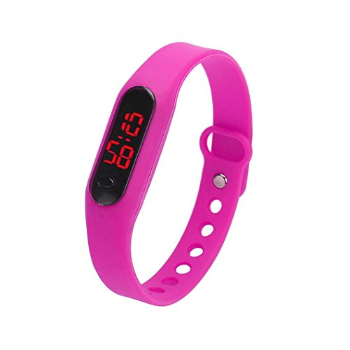 Kolylong 1PC Unisex Gummi LED Uhr Sport Armbanduhr Hot Pink
