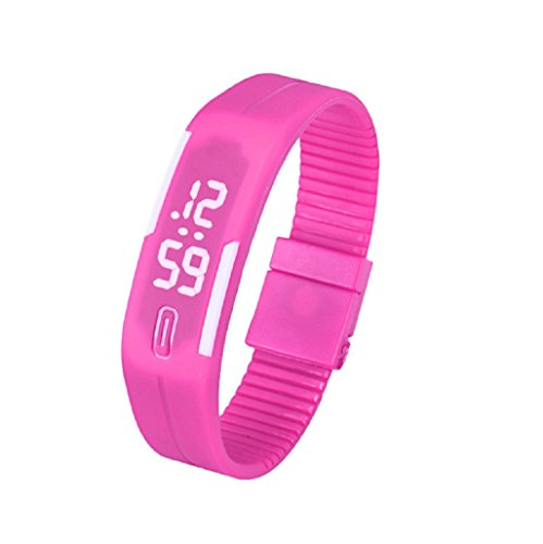 Kolylong Mens Womens Rubber LED Armbanduhr seit Sport Armband Digitale Hot Pink