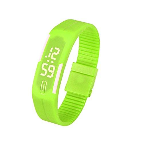 Kolylong Mens Womens Rubber LED Armbanduhr seit Sport Armband Digitale Gruen