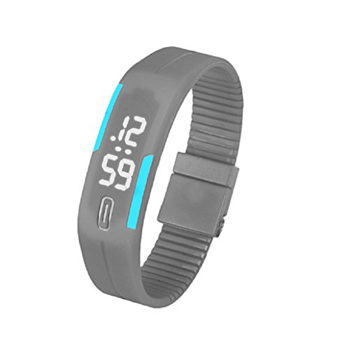 Kolylong Mens Womens Rubber LED Armbanduhr seit Sport Armband Digitale Grau