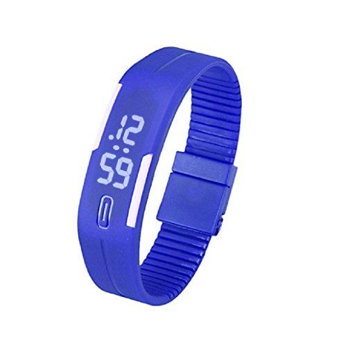 Kolylong Mens Womens Rubber LED Armbanduhr seit Sport Armband Digitale Blau