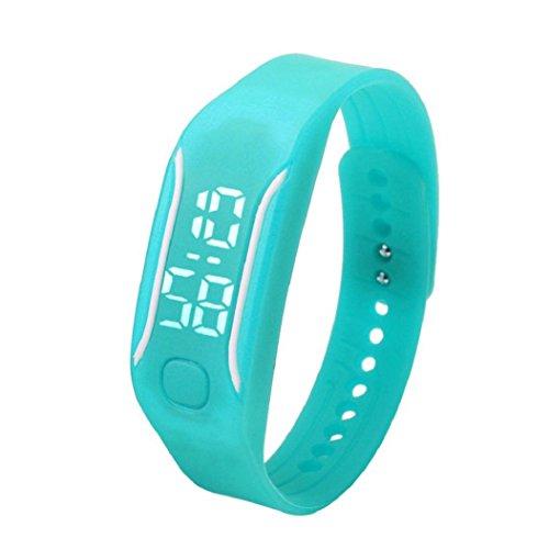 uhr sport Kolylong 1PC 2016 Unisex Gummi LED Sport Armbanduhr Himmelblau