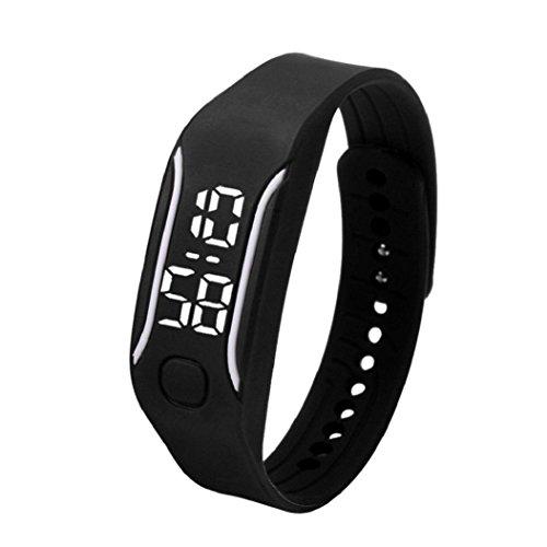 uhr sport Kolylong 1PC 2016 Unisex Gummi LED Sport Armbanduhr Schwarz