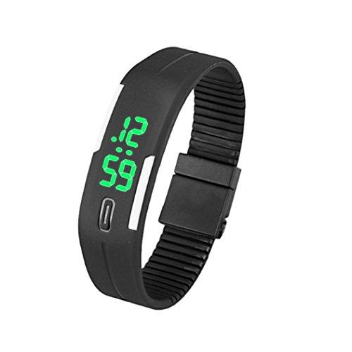 uhr sport Kolylong 1PC Unisex Gummi LED Sport Armbanduhr Schwarz2