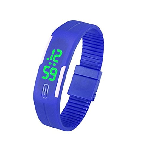 uhr sport Kolylong 1PC Unisex Gummi LED Sport Armbanduhr Blau