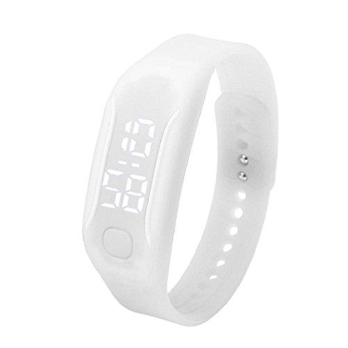 uhr sport Kolylong 1PC 2016 Unisex Gummi LED Sport Armbanduhr Weiss