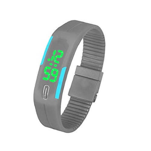 uhr sport Kolylong 1PC Unisex Gummi LED Sport Armbanduhr Grau